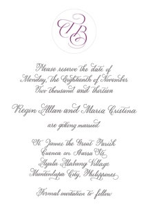 Regin & Crissie's save-the-date card