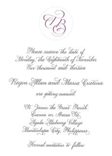 Regin & Crissie's save-the-date card